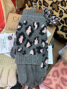 Gloves ~ Gray & Pink Leopard