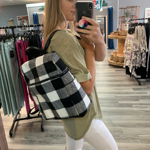 Buffalo Plaid Back Pack Bag