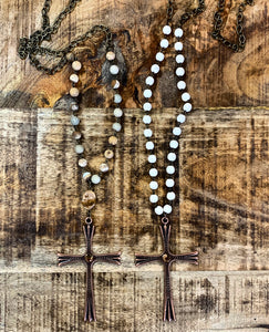 Bead & Cross Necklace