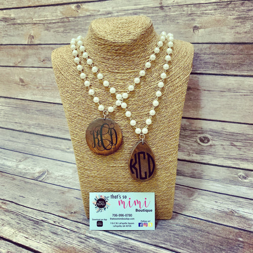 Wood Pearl Monogram Necklace