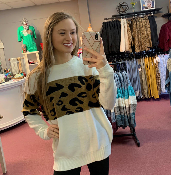 Hint Of Leopard Sweater