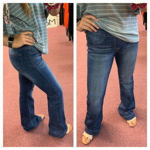 Dark Wash Flare Leg Pull-On Denim