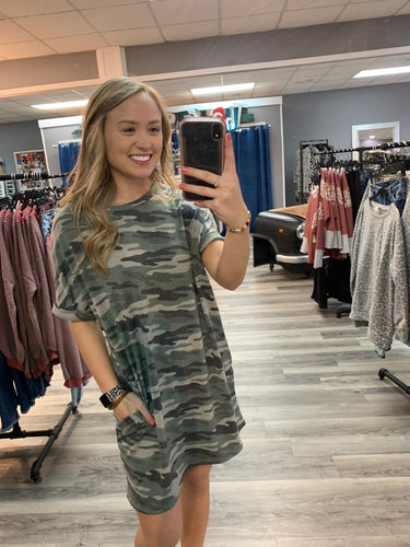 Rolled Sleve Camo Dress