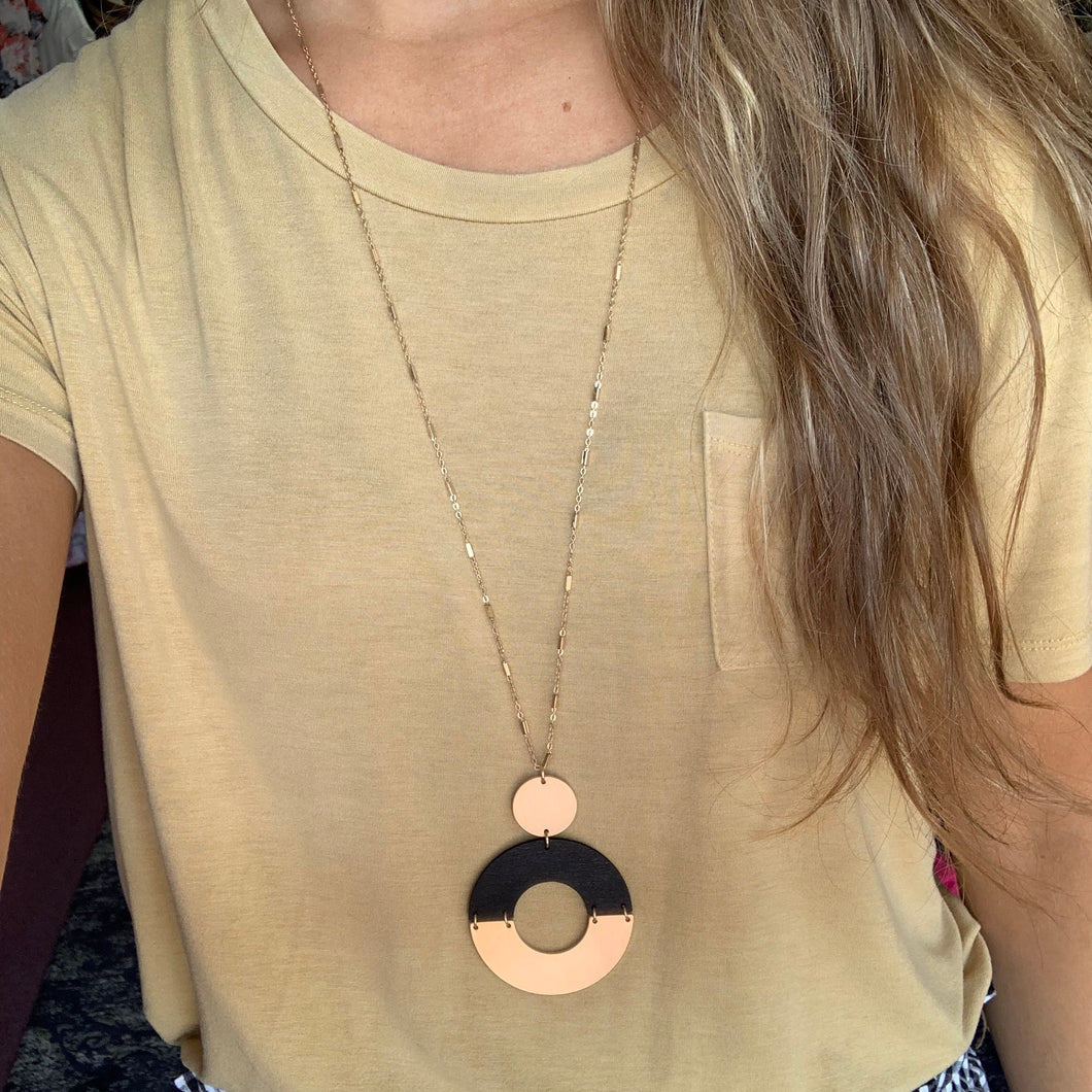 Black & Gold Circle Necklace
