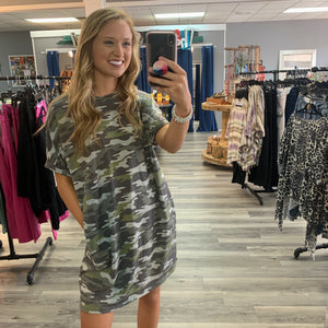 Take You Out Camo Dress