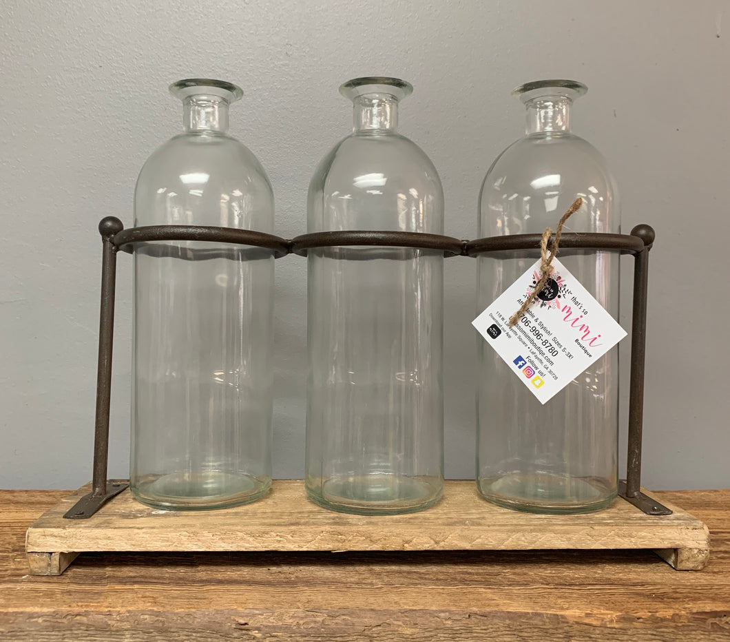3 Glass Bottles With Stand