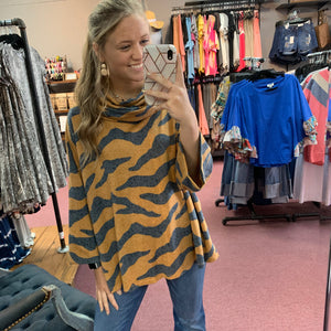 Tiger Print Slouch Neck Top