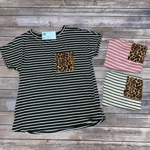 Stripe Short Sleeve Animal Pocket Top