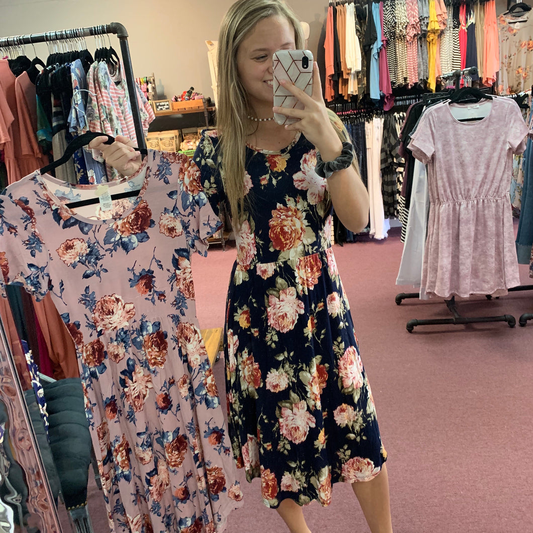 Floral Print Pocket Midi Dress