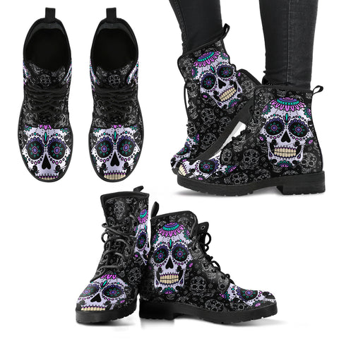 Women's Leather Boots - Sugar Skull