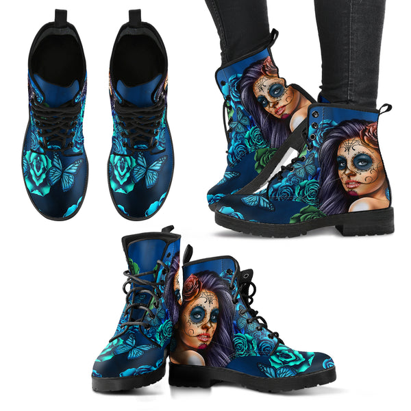 Women's Leather Boots Calavera Turquoise