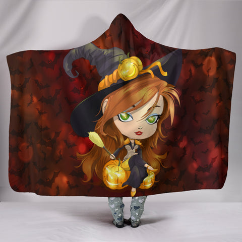Hooded Blanket Halloween Girl - Plush Lined