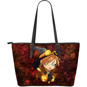 Large Leather Tote Bag - Halloween Witch