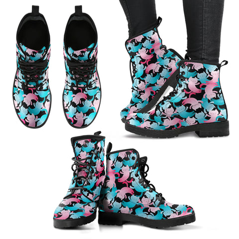 Women's Leather Boots - Cat Pattern