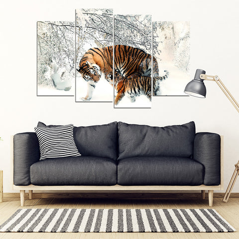 4-Piece Framed Wall Art Tigers In Snow