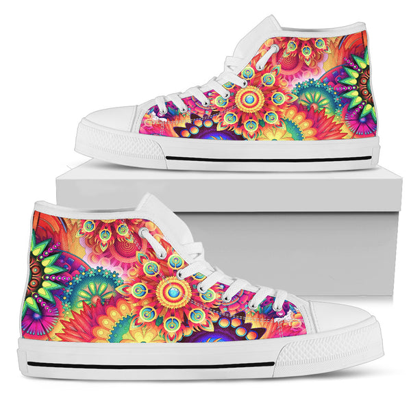 Men's High Tops Colorful Patterns - White Soles