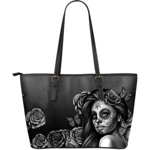 Large Leather Tote Calavera Gray