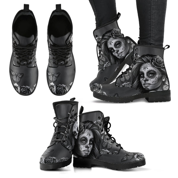 Women's Leather Boots Calavera Gray