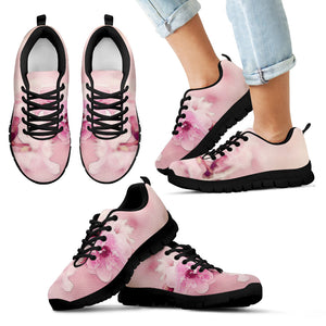 Kid's Sneakers Cherry Blossoms - Black Soles