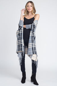 Women's Cardigan - Plaid Off Shoulder