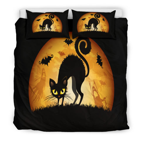 Bedding Set - Black Cat Halloween Doona 3 Piece Set