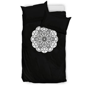 Bedding Set - Black With B&W Mandala