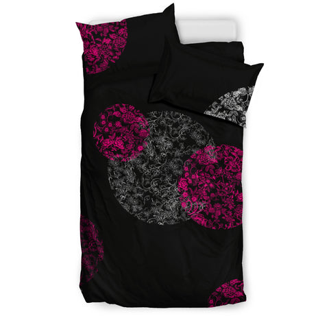 Bedding Set - Pink and White Flowers on Black