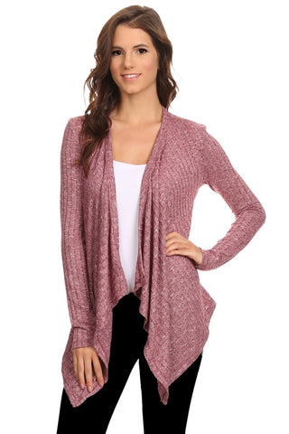 Women's Cardigan - Short Ribbed Draped