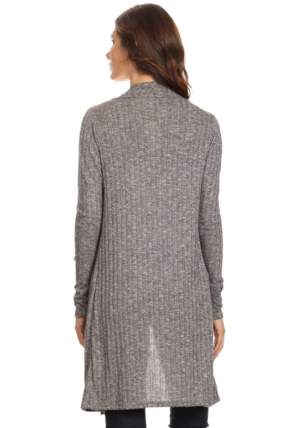 Women's Cardigan - Ribbed Open Long Sleeve