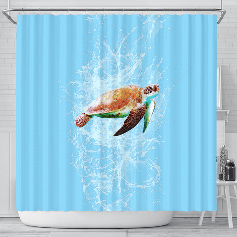 Shower Curtain - Swimming Turtle