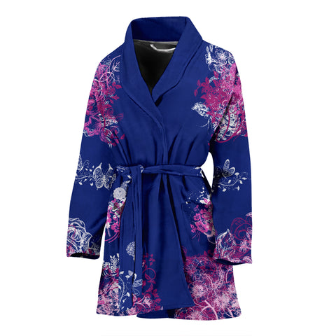 Bath Robe Blue With Flowers Women's