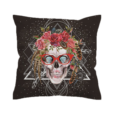 Pillow Cover - Sugar Skull With Glasses