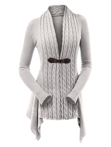 Women's Cardigan - Kenancy Cable Knit Buckle Asymmetrical Cardigan