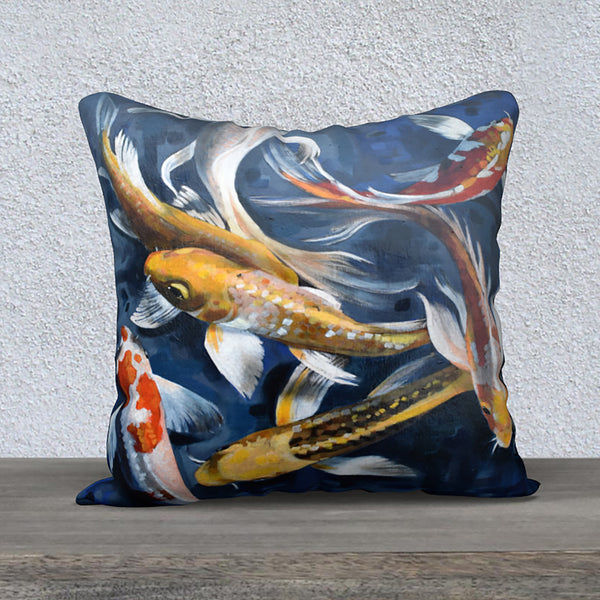 'Blue Koi' - 18x18 Pillow Cover