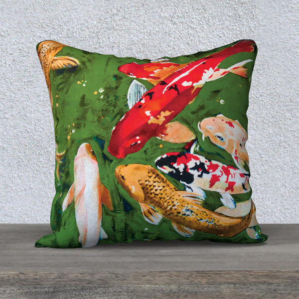 'Lucky Koi' - 18x18 Pillow Cover