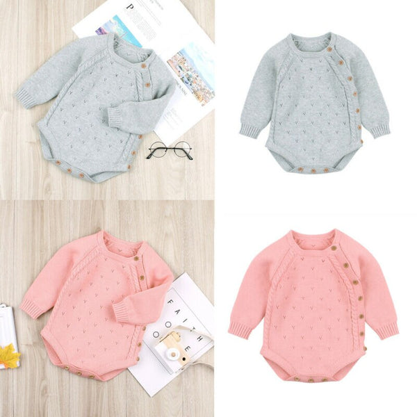 0 18M Newborn Baby Girls Boys Bodysuits Knitted