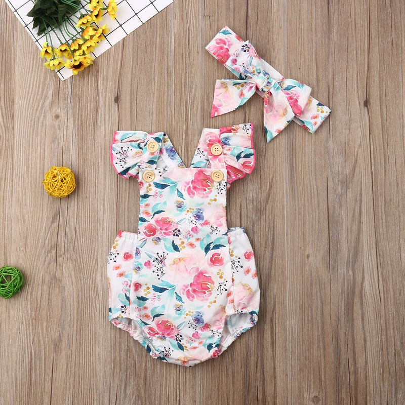 0 24M Summer Toddler Baby Girls Flowers Bodysuits