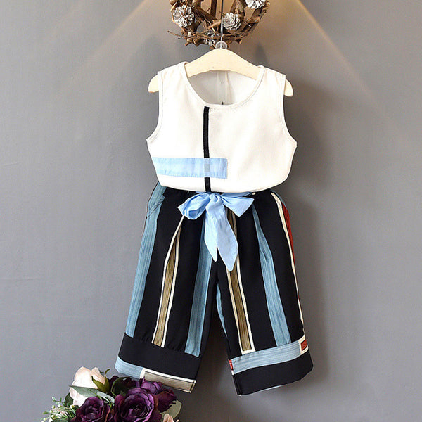 Girl Boutique Outfit Sets Kids Clothing Fashion Sleeveless Vest+Bow Wide Leg Pants Baby Girl Outfit Children
