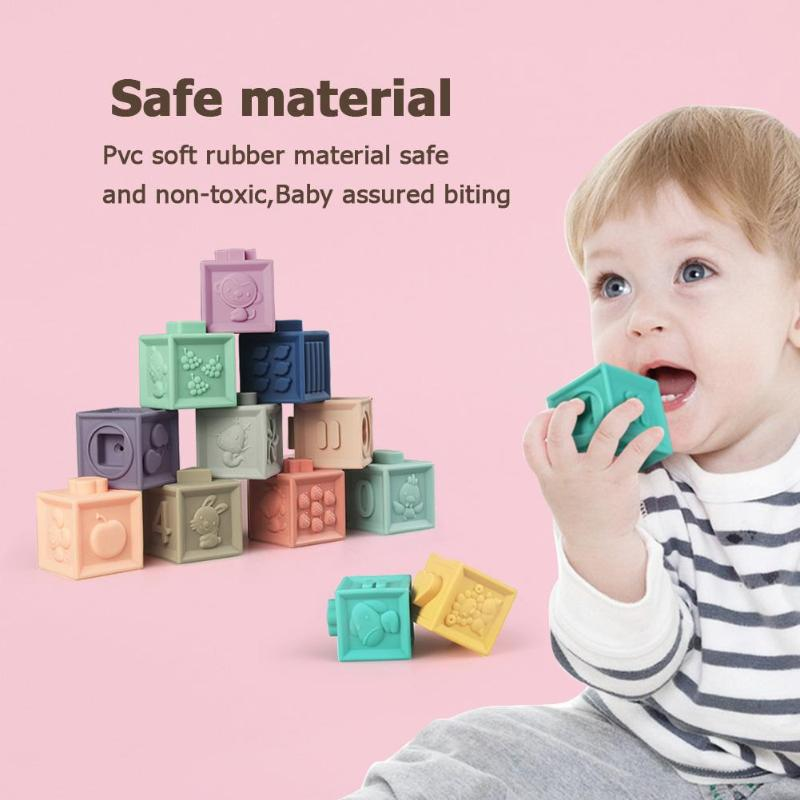 Baby Grasp Toy Soft Rubber Vinyl Embossed Building Blocks Baby Teethers Set Blocks 3D Touch Hand Soft Balls Baby Massage