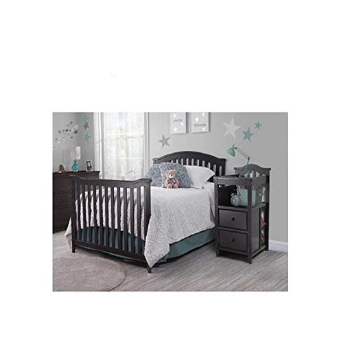 4-in-1 Convertible Crib and Changer with Drawer, Espresso Easily Converts to Toddler Bed, Day Bed or Full Bed, 3 Position Adjustable Height, Mattress Not Included