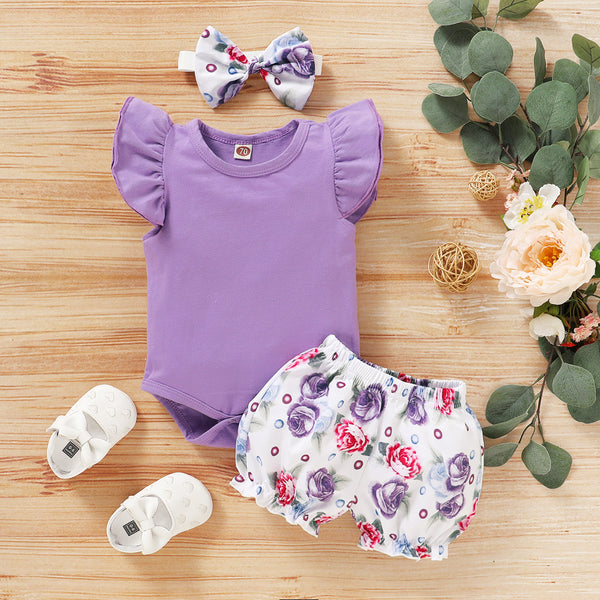 Summer Purple Romper + Summer Shorts & Headband