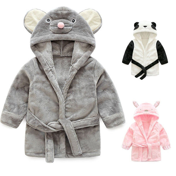 Toddler Kids Cartoon Hooded Plush Robe Animal Pajamas Fleece Bathrobe Children Sleepwear