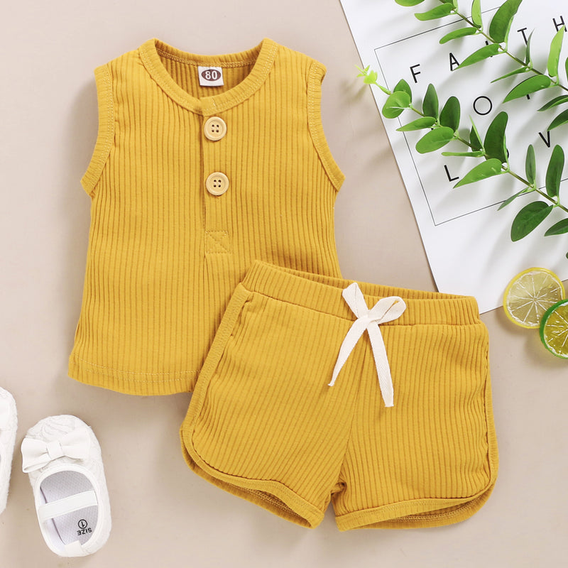 Baby Clothes Set Toddler Boys Girls Solid Sleeveless Button Vest Tops+shorts Outfits Set roupa bebes menina newborn clothes