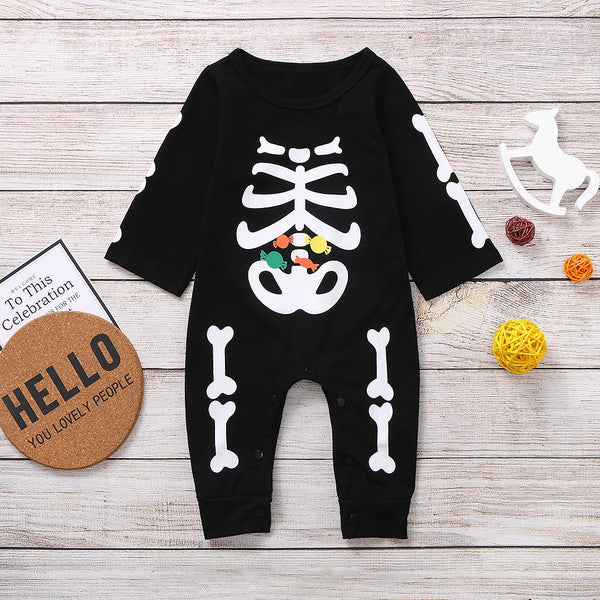 Halloween Skull Cartoon Romper