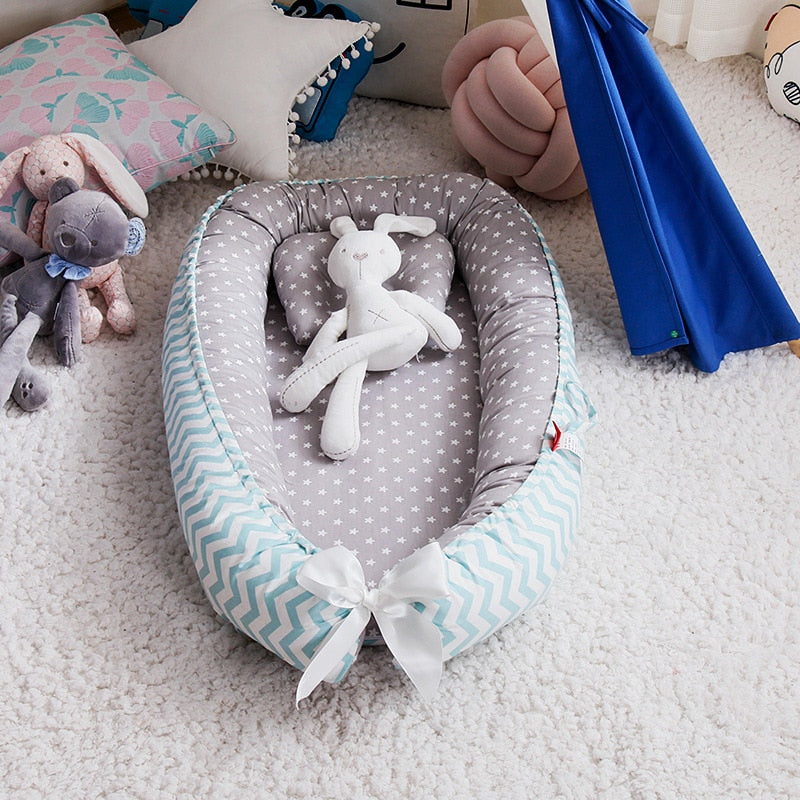 85*50cm Baby Nest Bed with Pillow Portable Crib Travel Bed Infant Toddler Cotton Cradle for Newborn Baby Bed Bassinet Bumper