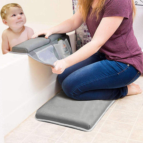 Bath Kneeler Rest Pad Set Elbow Support Knee Arm Support Kneeling Mat Baby Cushion Strength Suction Gray Bath Kneeler Support