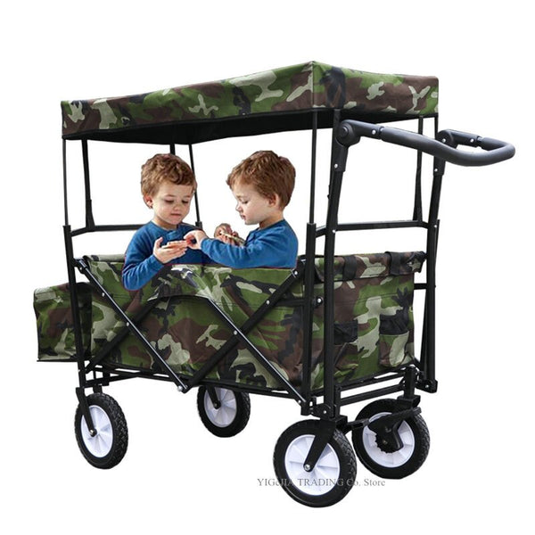 Outdoor Camping Cart with Adjustable Handle Bar, Utility Wagon Picnic Camping Cart with Sun/Rain Shade, Fold Trolley