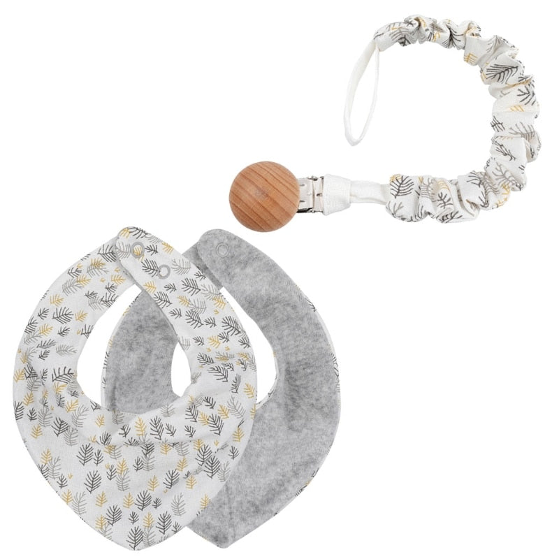 Baby Pacifier Clip Chain Clip Soother Baby Cotton Linen Bib Saliva Towel  Set Newborn Shower Gift  Bib Feeding Cloths