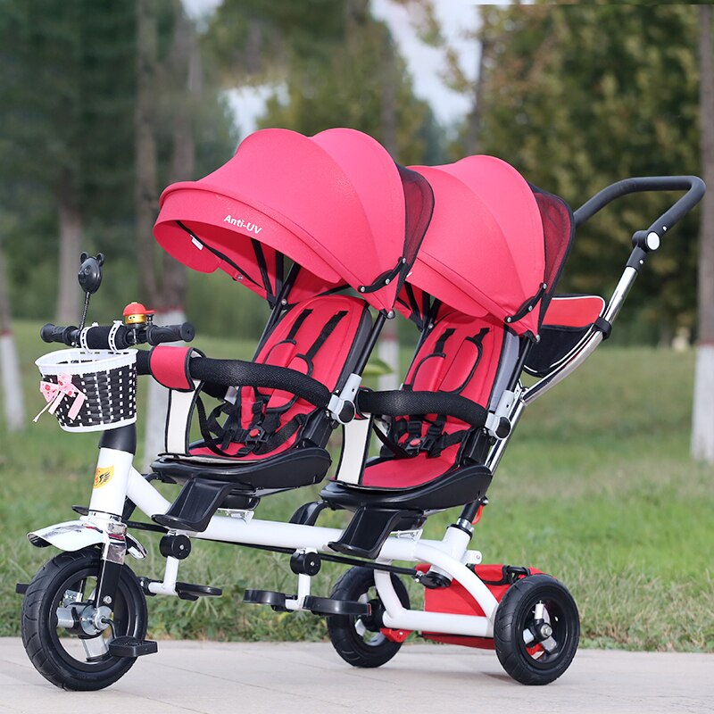 Twin Baby Stroller Double Seat Child Tricycle Kids Bike Rotatable Seat Three Wheel light Stroller Protable Pushchair