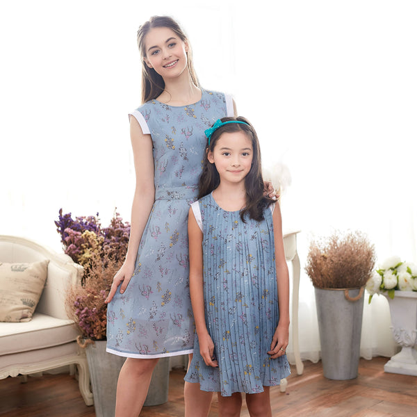 (Set of 2) Blue Floral Dress